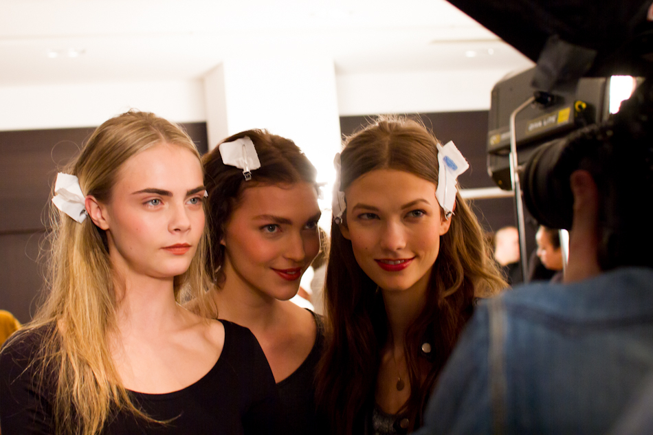 karlie kloss Arizona Muse Cara Delevigne at Paul & Joe AW 2012/2013 backstages